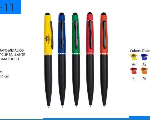 Bolígrafo Metálico Mate con Brillante y Goma Touch