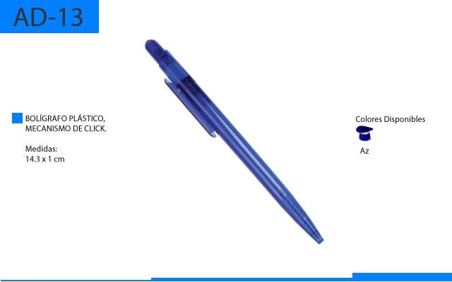 Bolígrafo Plástico con Mecanismo de Click Azul