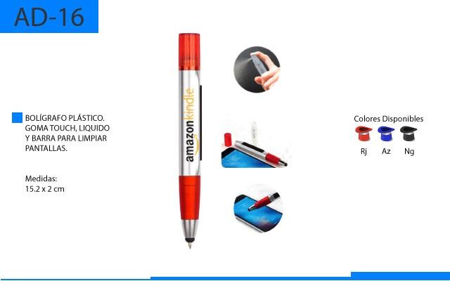Bolígrafo Plástico Touch con Limpiador de Pantallas