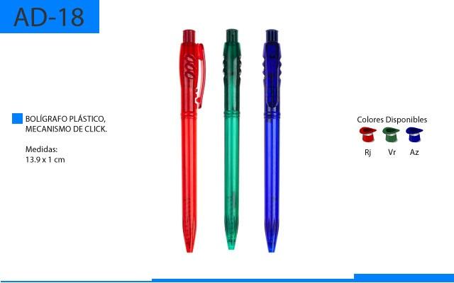 Bolígrafo Plástico con Mecanismo de Click Translucido