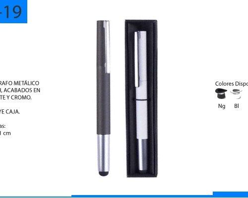 Bolígrafo Metálico Touch Acabados en Esmalte y Cromo