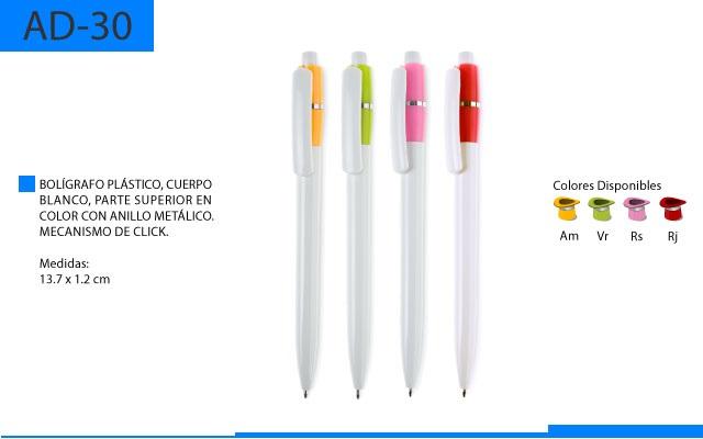 Bolígrafo Plástico Mecanismo Parte Superior en Color
