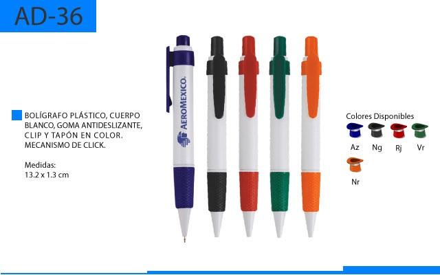 Bolígrafo Plástico Goma Antideslizante y Detalles a Color