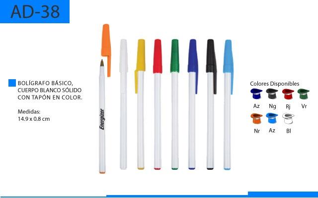 Bolígrafo Plástico Básico Tapón en Color