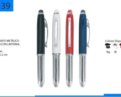 Bolígrafo Metálico Touch con Linterna