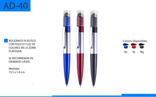 Bolígrafo Plástico con Luz de Colores