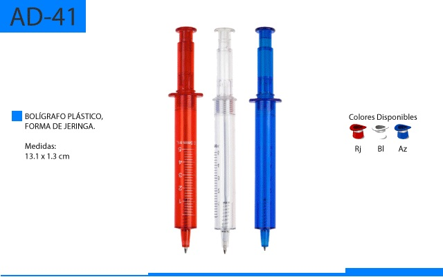 Bolígrafo Plástico Jeringa