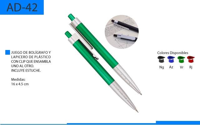 Juego Bolígrafo Plástico y Lapicero con Clip que Ensabla uno a Otro con Estuche