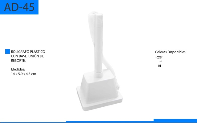 Bolígrafo Plástico con Base Unión de Resorte