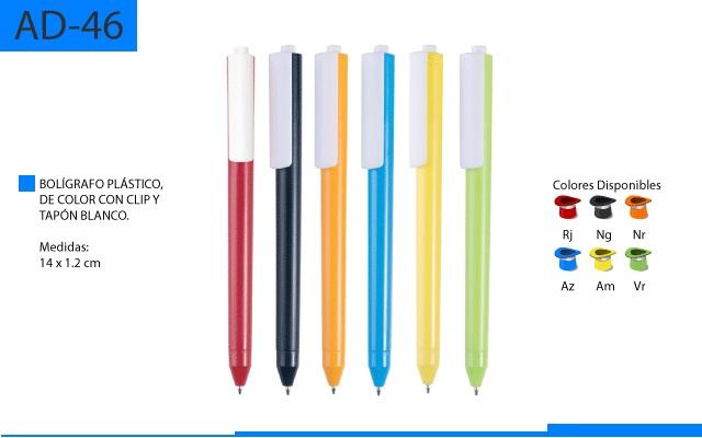 Bolígrafo Plástico a Color Clip y Tapón Blancos