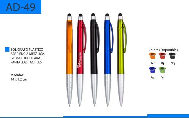 Bolígrafo Plástico Color Metálico con Goma Touch para Pantallas Táctiles