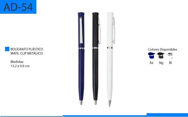 Bolígrafo Plástico Color Mate Clip Metálico