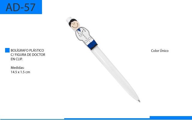 Bolígrafo Plástico con Figura Doctor en Clip