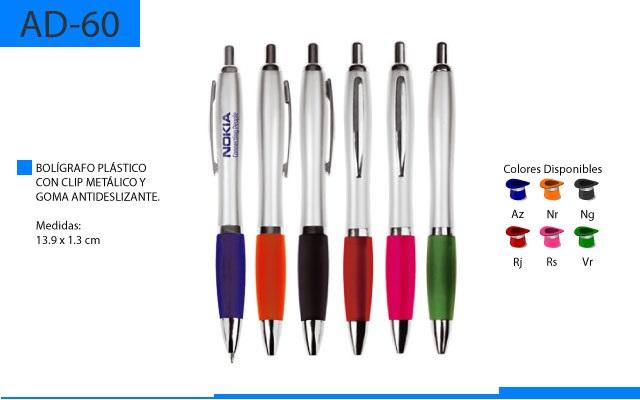 Bolígrafo Plástico con Clip Métalico y Goma Antideslizante