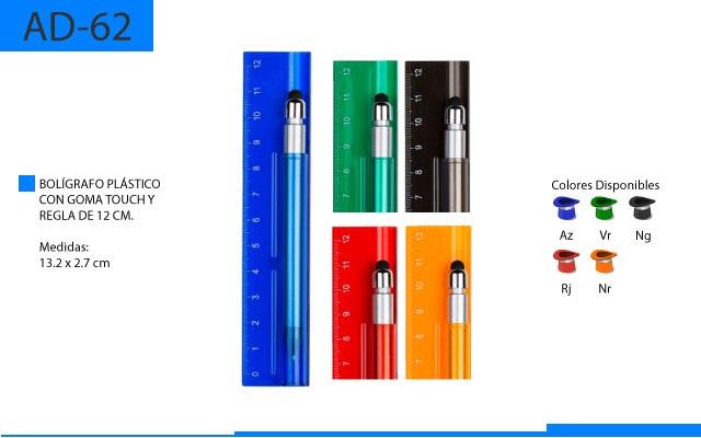Bolígrafo Plástico con Regla y Goma Touch