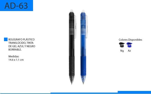 Bolígrafo Plástico con Tinta de Gel Borrable