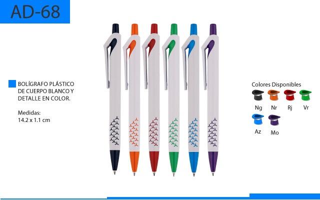 Bolígrafo Plástico con Detalle en Color y Clip Curvo en la Parte Superior