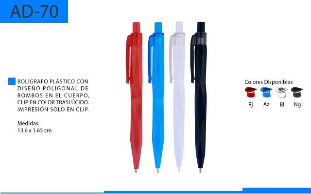 Bolígrafo Plástico con Diseño Poligonal de Rombos en el Cuerpo
