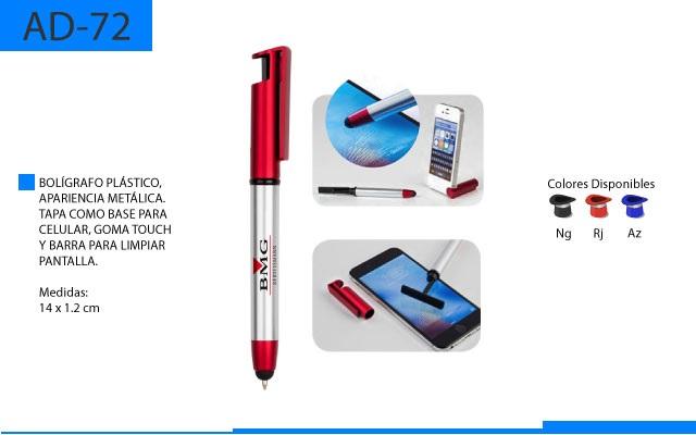 Bolígrafo Plástico Touch con Base para Celular y Barra para Limpiar Pantalla