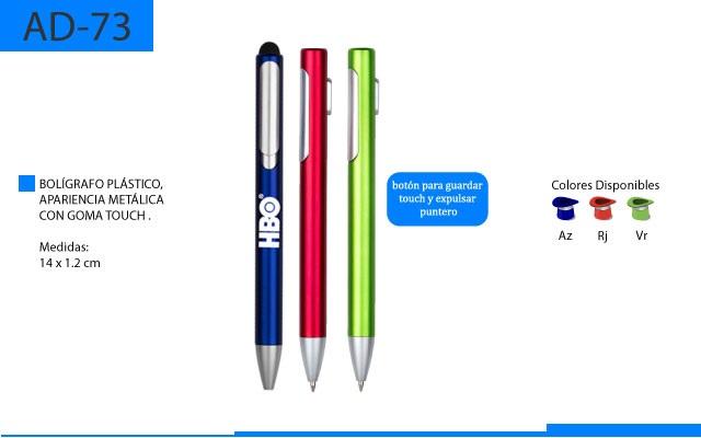 Bolígrafo Plástico Goma Touch con Color Metálico