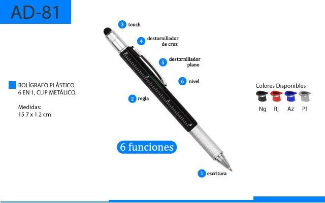 Bolígrafo Plástico seis en uno