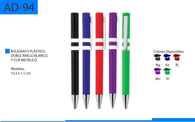 Bolígrafo Plástico Doble Anillo Blanco y Clip Metálico