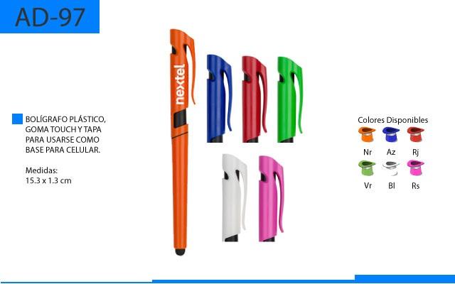 Bolígrafo Plástico Touch Tapa como Base para Celular
