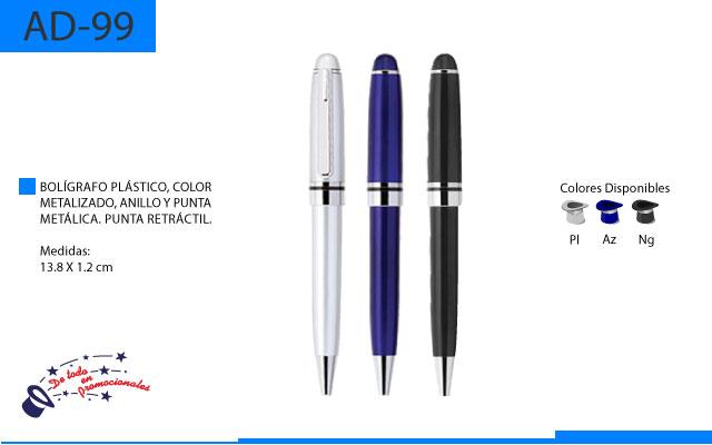 Bolígrafo Plástico Color Metálico Punta y Anillo Metálico Punta Retráctil