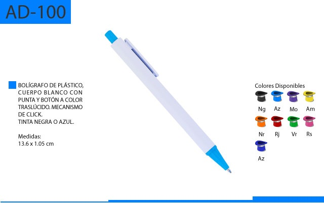 Bolígrafo Plástico Cuerpo Blanco Punta y Boton en Color Traslúcido Mecanismo de Click
