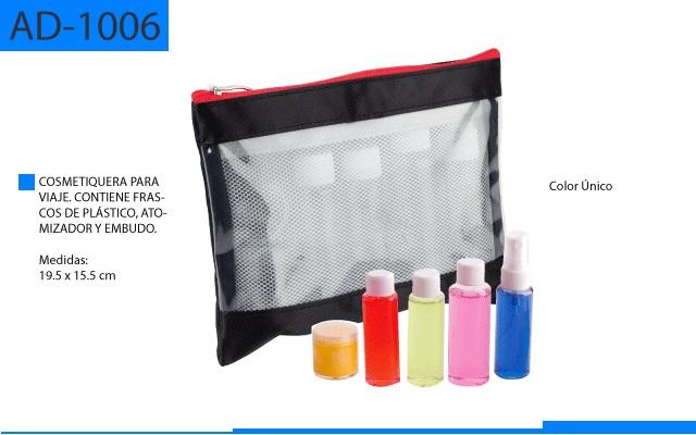 Cosmetiquera de Viaje con Frascos de Plastico