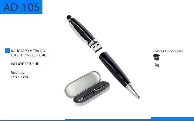 Bolígrafo Metálico Touch con USB