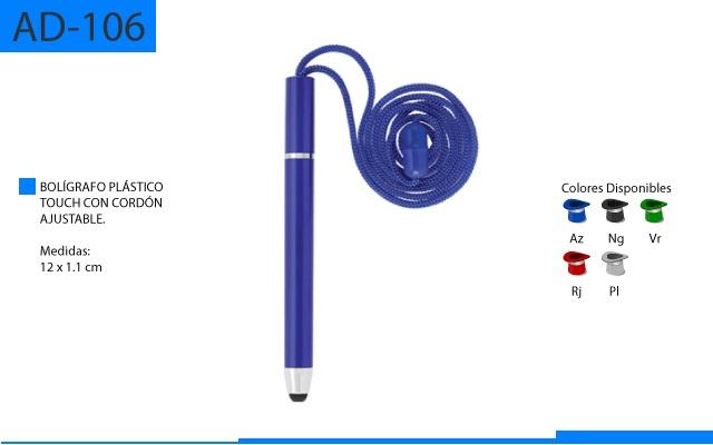Bolígrafo Plástico Touch con Cordon Ajustable