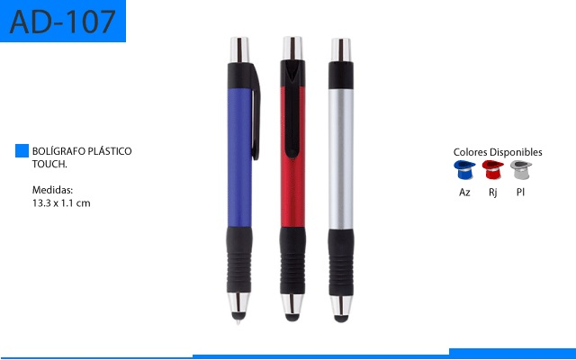 Bolígrafo Plástico Touch Grueso Detalles en Negro