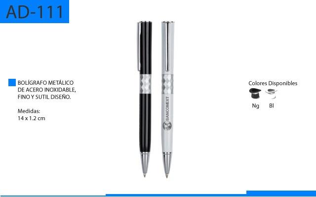 Bolígrafo Metalico de Acero Inoxidable Fino