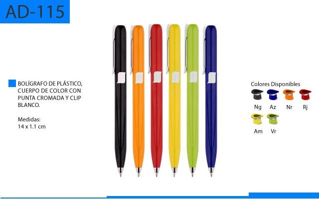 Bolígrafo Plástico Cuerpo en Color Punta Cromada Clip Blanco