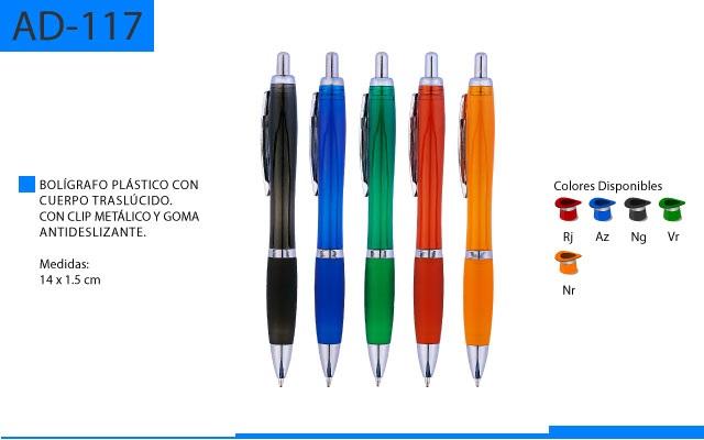 Bolígrafo Plástico Cuerpo en Color Traslúcido con Clip Metálico y Goma Antideslizante