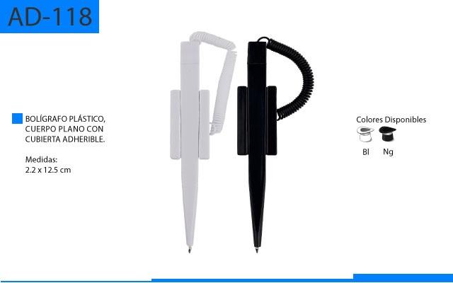 Bolígrafo Plástico Cuerpo Plano con Cubierta Adherible