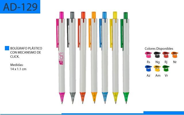 Bolígrafo Plástico Cuerpo Blanco Clip y Punta a Color Traslúcido