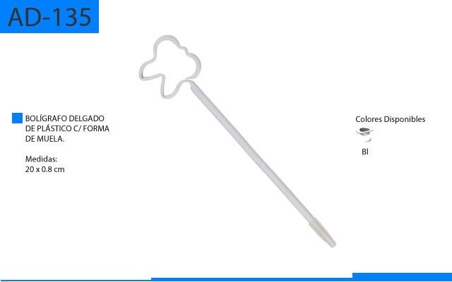 Bolígrafo Plástico Delgado con Forma de Muela