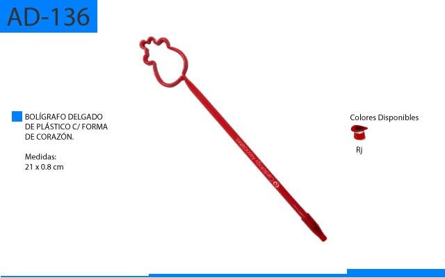 Bolígrafo Plástico Delgado con Forma de Corazón