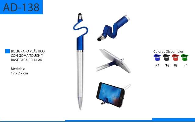Bolígrafo Plástico con Base para Celular y Cuerpo Plateado