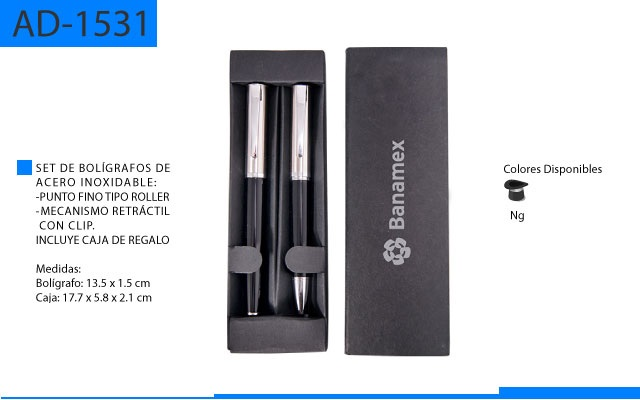 Set de Bolígrafos Metálicos uno Tipo Roller y Tipo Mecanismo retractil con Caja