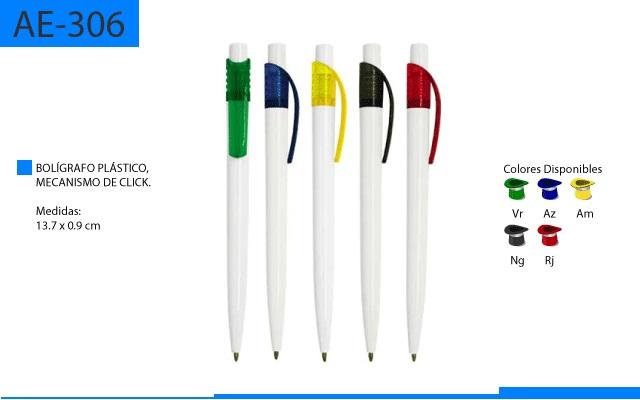 Bolígrafo Plástico Basico con Cuerpo Blanco Clip a Color