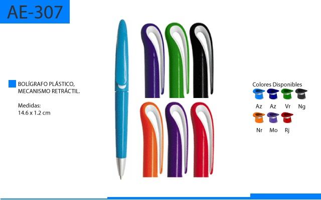 Bolígrafo Plástico Clip Curvo Mecanismo Retractil Cuerpo a Color