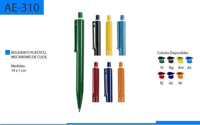 Bolígrafo Plástico Basico Mecanismo de Clip a Color Parte Superior en Blanco