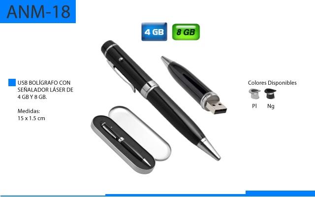 Bolígrafo Metálico con USB y Apuntador Laser